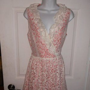 Pink and White Lace Dress Size 10